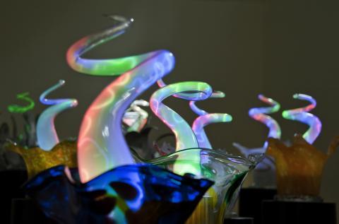 플라즈마와 유리로 만들어진 작품은 버섯 형상을 하고 있다.