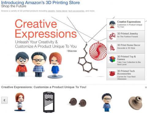 지난 29일 아마존이 개설한   '3D프린팅 스토아'. 장난감, 장신구, 집안 장식 소품 등 200여개의 주문 상품을 판매하고 있다.  ⓒ http://www.amazon.com/