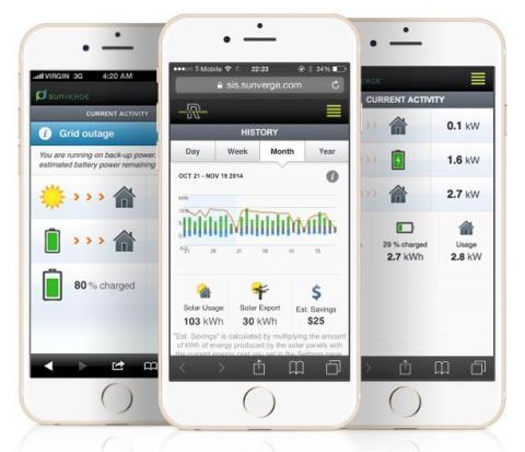 에너지 저장장치(EES)에 있어 독보적인 기술을 갖고 있는 '선버지 에너지(Sunverge Energy)'의 스마트폰 앱. 실시간으로 전력 공급 및 수요 상황을 알려주고 있다.  ⓒhttp://www.sunverge.com/