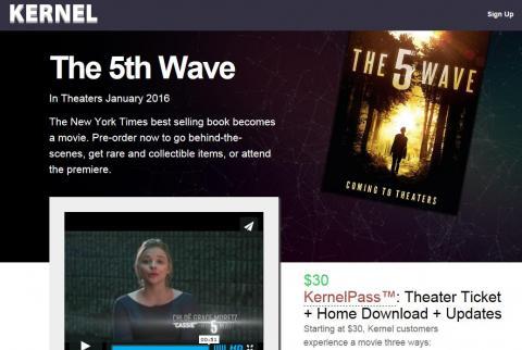 동영상 스트리밍 벤처 업체인 '커널' 웹사이트. 영화와 관련된 패키지 상품을 판매하면서 관객몰이를 하고 있다. 해킹 논란을 빚었던 영화 '인터뷰' 흥행에 큰 역할을 한 것으로 평가받고 있다.