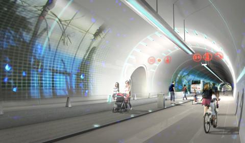 프랑스 제2의 도시 리용에서는 화려한 영상 속으로 달릴 수 있는 터널 '르 튀브(Le Tube)'가 인기를 끈다. ⓒ Lyon