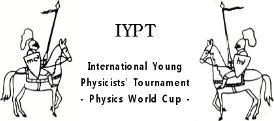 국제청소년물리토너먼트 공식로고.  IYPT 로고에 등장하는 두 기사의 방패는 물질에 대한 서로 다른 두 가지 관점을 상징한다.  ⓒ 한국영재학회