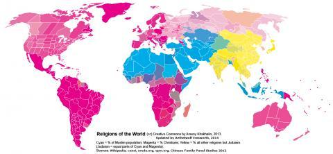 세계의 종교 분포. 푸른색이 이슬람교, 붉은색이 기독교다. ⓒ Arseny Khakhalin, Aethelwolf Emsworth at wikicommons