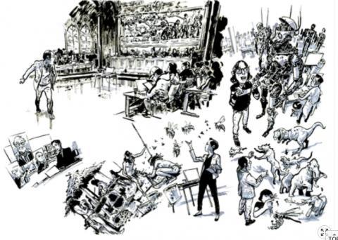 김정기 작가의 베르나르의 과학SF소설 '제 3인류' 삽화