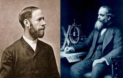 전자기파의 존재를 실험을 통해 증명한 헤르츠(왼쪽)와 전자기파의 존재를 수식으로 예측한 맥스웰. ⓒ Free Photo