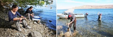 PNNL 연구원들이 컬럼비아 강 혼합대에서 온실가스 방출량을 측정하고 있는 모습(왼쪽)과 혼합대 구역에서 물 샘플을 채취하고 있는 모습(오른쪽) ⓒ PNNL