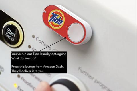 세제가 필요하다면? 세탁기에 부착된 버튼을 누르기만 하면 알아서 배달 오는 아마존 '대시' 버튼 서비스.