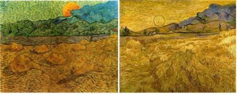 고흐가 1889년 여름에 그린 그림 왼쪽이 (1)번, 오른쪽이 (2)번). ⓒ Free Photo