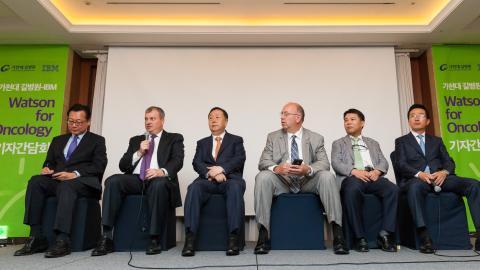 가천대와 IBM 측 관계자들이 왓슨 국내 도입 관련 기자간담회에서 질의응답을 하고 있다. ⓒ길병원/ ScienceTimes