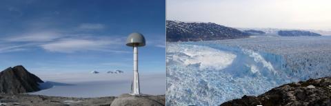 그린란드 남부 나르사르수아크 빙하의 가장 높은 지대에 설치한 GPS 장비(사진 Dana J. Caccamise II, courtesy of The Ohio State University). 오른쪽은 남동 그린란드 헬하임 빙하의 거대한 해빙 분리 모습(Credit: Nicolaj Krog Larsen) ⓒ ScienceTimes