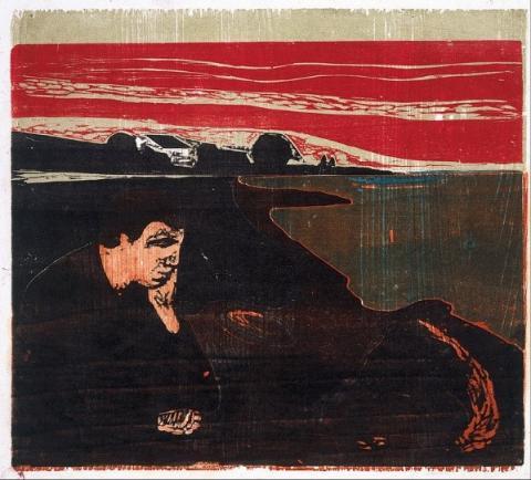 에드바르드 뭉크의 멜랑콜리(1896년). 뭉크는 어려서 결핵으로 모친과 누나를 잃었고 평생 결핵에 걸릴까 두려워하며 멜랑콜리를 겪었다.  ⓒ 오슬로 뭉크 미술관 소장