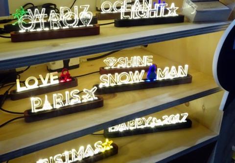 LED와 레이저 커팅을 활용해 만든 조명기기.(이재국 메이커) ⓒ 김은영/ScienceTimes