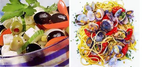 그리스식 샐러드(왼쪽)와 이탈리아식 해물 스타게티.  사진 : Wikipedia