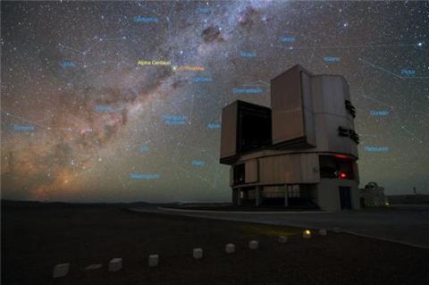 유럽남천문대의 VLT망원경에서 바라본 프록시마와 켄타우루스자리 알파별. ⓒ ESO