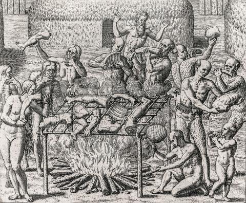 드 브리(Theodor de Bry, 1528-1598)의 판화. 당시 남아메리카를 탐험한 독일의 한스 스타든(Hans Staden)이 쓴 원주민들의 식인 기록을 판화로 제작했다.  ⓒWikipedia