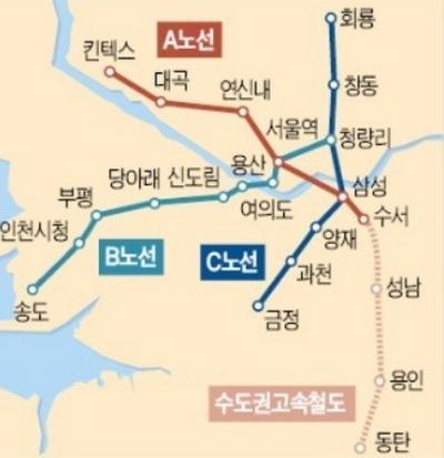확정된 GTX 수도권 노선도 ⓒ 국토교통부