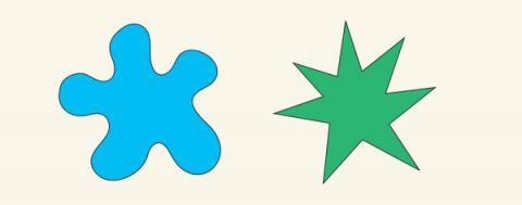 키키 효과는 청각과 시각이 연결돼 있음을 잘 보여준다. 어느 쪽이 보우바와 잘 어울리고 어느 쪽이 키키와 잘 어울릴까.  ⓒ PNAS