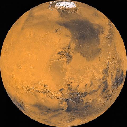 바이킹이 촬영한 약1000개의 사진을로 작성한 화성 모습.  Credit: NASA Jet Propulsion Laboratory, U.S. Geological Survey