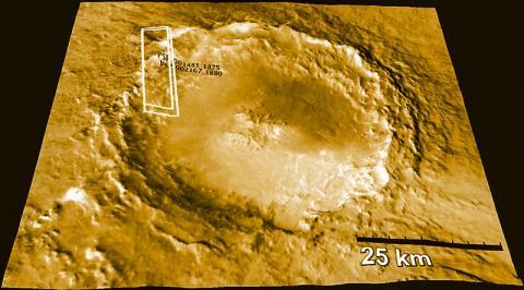 지구로 날아온 화성 운석의 근원지로 여겨지는 화성의 모하비 크레이터(Mojave Crater). NASA의 화성 궤도위성 리코네산스에 있는 HIRISE  카메라로 촬영했다.  Credit: NASA JPL-Caltech, University of Arizona