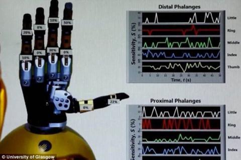 과학자들이 실제 사람의 피부처럼 부드러우면서 오래 지속되고 자체적적으로 에너지를 가동할 수 있는 인공 전자 피부가 개발했다. 사진은 글래스고 대학 연구팀이 개발한 '스마트 핸드'. 촉각이 있는 전자 피부가 사용돼 사람의 손처럼 외부 감각을 느낄 수 있다.
