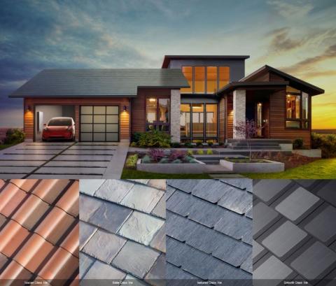 지난해 일론 머스크 테슬라 CEO는 태양광패널 지붕(솔라루프)를 선보였다. 개인의 취향에 따라 지붕의 타입을 고를 수 있게 했다. ⓒhttps://namu.wiki/