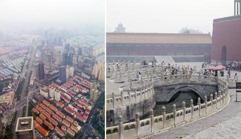 대기오염으로 뿌연 중국 동부지방의 상하이(왼쪽)와 스모그가 낀 베이징 자금성(오른쪽). Credit : Pixabay