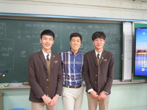 왼쪽부터 반영진 학생, 주현웅 선생님, 성명원 학생 ⓒ 김지혜/ScienceTimes