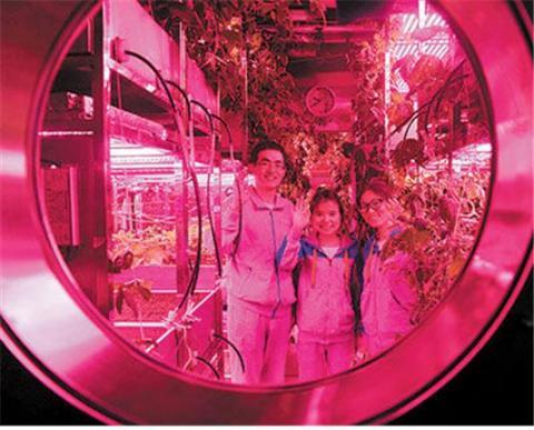 '월궁 365(月宫365) 프로젝트'로 불리는 유인 우주선 모형에서 365일 동안 생활하게 될 연구생들의 모습. ⓒ 웨이보