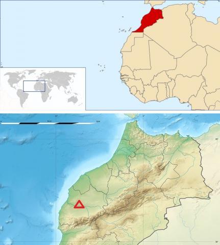 이번 발견으로 아프리카 중석기시대 초기 인류종 유적지로 각광을 받게 된 모로코 서부의 제벨 이루드 지역(아래 그림 삼각형) Credit : Wikimedia Commons