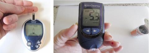 손가락 스틱 혈당검사. 2형 당뇨환자 대부분에게 이 검사가 권고되고 있으나 효과에 대해서는 논란이 있다.  Credit : Wikimedia Commons / David-i98