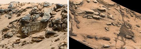 사진 왼쪽은 NASA의 큐어리어시티 로버가 화성의 낮은 샤프 언덕(Mount Sharp) 세 곳에서 조사한 퇴적암. 오랫 동안 물이 차 있었던 호수 안의 서로 다른 깊이에 쌓여있던 퇴적물이 상이한 질감을 보여준다. 이 사례들은 퇴적물을 머금은 물이 호수로 흘러들어가 유속이 느려지며 많은 퇴적물을 생성함으로써 호수 가장자리에 생긴 두꺼운 층을 나타낸다. 오른쪽 그림의 사례는 더 얇은 층으로서 호수 가장자리에서 멀리 떨어진 더 깊은 물 속에서 생긴 퇴적물로 해석된다.  Credit: NASA/JPL-Caltech/MSSS