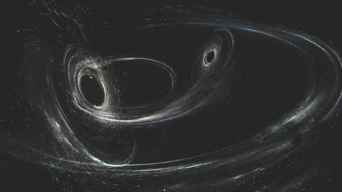 LIGO 과학자들이 지구에서 30억 광년 떨어진 곳에서 발생한 중력파를 관측하는데 성공했다. 사진은 2개의 블랙홀이 마치 춤을 추듯이 서로를 돌면서 병합되는 과정을 영상화한 것이다.  ⓒ LIGO/Caltech/MIT/Sonoma State (Aurore Simonnet)