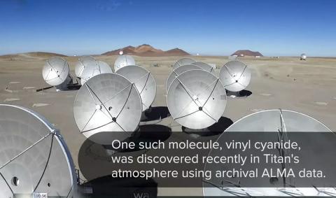 칠레 아타카마 사막에 있는 ALMA 우주전파관측 군집 동영상 캡처. Produced by NRAO Education & Public Outreach (NRAO/AUI/NSF); Cassnin Imaging Team; NASA/JPL-Caltech/SSI/JHUAPL/Univ. Arizona; Mu