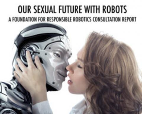 네덜란드 로봇공학연구소에서 5일 발표한 섹스로봇 관련 보고서 표지에서 한 여성이 로봇과 키스하고 있다. 섹스로봇으로 인한 윤리적 부작용이 크다고 보고 사회적 규제 대책을 마련해줄 것으로 촉구하고 있다.     ⓒFRR