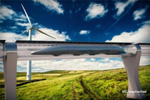 하이퍼루프는 20~30명의 승객을 태운 캡슐 형태의 열차가 음속(1220㎞)과 비슷한 속도로 달리는 미래 교통수단이다. ⓒ Hyperloop Transportation Technologies