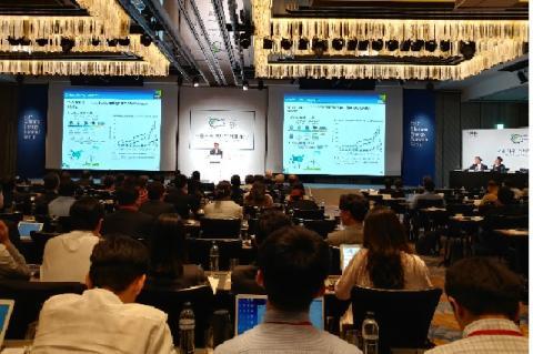 '기후변화와 4차산업혁명시대 에너지전환전략'을 주제로 서울기후-에너지 회의 가 28일 서울 광화문 포시즌 호텔에서 개최됐다. 사진은 박주헌 에너지경제연구원장 연설장면.