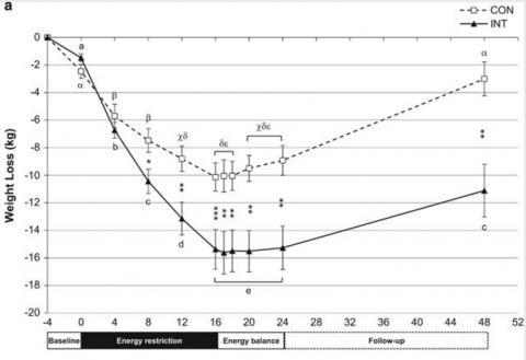 다이어트 유형에 따른 몸무게 변화 그래프다. 참가자들은 16주 동안 적정 식사량의 3분의 2만 먹는 다이어트를 하는데 연속적으로 하는 그룹(점선)과 간헐적(2주 단위)으로 하는 그룹(실선)으로 나뉜다(그 사이 2주는 적정 식사량을 하는데 그래프에서는 표시하지 않았다). 다이어트가 끝난 뒤 8주 동안 적정 식사량을 먹은 뒤 프로그램이 끝난다. 다이어트 기간 동안 두 그룹의 체중감소 정도가 시간이 지날수록 점점 벌어지고 프로그램이 끝나고 6개월 뒤에도 약간 더 벌어져 있음을 알 수 있다. ⓒ 국제비만저널