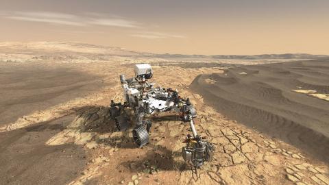 미국, 중국, 러시아 등 강대국들 간에 인간의 화성착륙을 위한 경쟁이 가열되고 있는 가운데 우주방사선 피폭 문제가 풀리지 않는 난제로 부상하고 있다.  차세대 화성 탐사 차량인 '2020로버(2020 Rover)'가 화성 표면을 탐사하고 있는 장면을 그린 가상도.