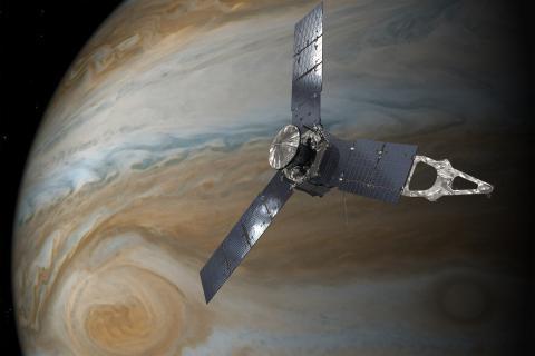 목성 주위를 돌고 있는 탐사선 주노의 상상도. ⓒ NASA
