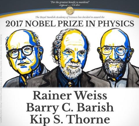 올해 노벨물리학상 수상자로 선정된 라이너 와이스 MIT 며예교수, 배리 배리시 칼텍 명예교수, 킵 손 칼텍 명예교수(왼쪽부터) ⓒ nobelprize.org