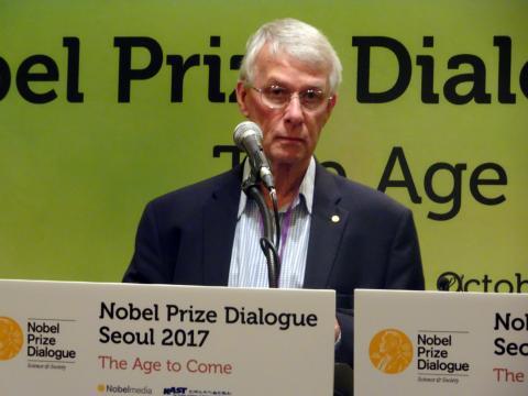 리처드 로버츠 교수는 노벨상 수상자를 포함해 세계적인 석학들이 연사로 참여해 함께 토론하며 글로벌 과제들에 대해 지식과 의견을 나누는 국제적인 행사 '노벨프라이즈 다이얼로그(Noble Prize Dialogue Seoul 2017)'에 참여해 자신의 특별한 경험을 공유했다.     ⓒ 김은영/ ScienceTimes