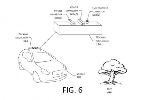 아마존이 획득한 자율주행차를 활용한 드론 충전 특허. ⓒ 미 특허청