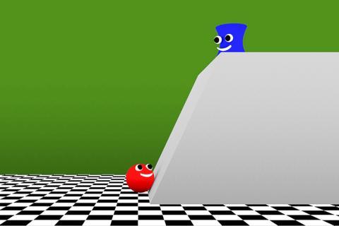 연구팀은 다른 사람들의 가치에 관한 유아의 직감을 평가하기 위해 에이전트(빨간 공)가 장애물을 뛰어넘어 목표(파란색 캐릭터)에 도달할 가치가 있는지 여부를 결정하는 비디오를 보여주었다.  Courtesy of the researchers