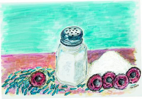 우리가 먹는 음식에 들어있는 소금의 양은 장 세포에 영향을 미친다. 소금을 많이 먹으면 Th17 면역세포(빨강) 수가 늘어나는 반면 유산균(파랑) 수는 줄어든다.  Illustration: Russ Hodge, MDC