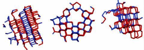 얼음 형성이 지속되기에 충분한 입방체 모양과 크기를 가진 얼음 핵. 빨간색 분자들은 입방체 분자 배열을 나타내고, 파란색 분자들은 육각형 얼음 배열로 되어있다.  CREDIT : University of Utah