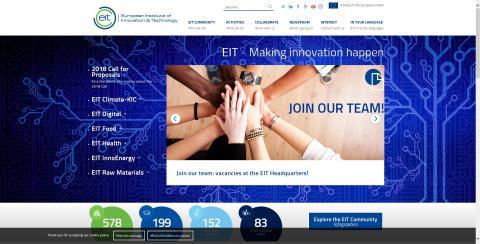 유럽혁신기술연구소(EIT)는 유럽 28개국 공동의 혁신을 강하게 추진하기 위해 2010년 헝가리 부다페스트에 설립된 EU 산하의 독립기구다. ⓒ EIT 홈페이지 캡처 화면