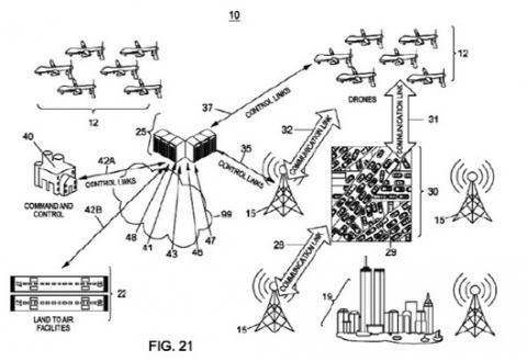 드론이 비상시 통신망 연결을 위한 공중 기지국이 되기도 한다. IBM이 획득한 특허 개념도. ⓒ 미 특허청