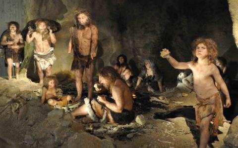 DNA분석 기술이 고인류학에 도입되면서 기존의 화석연구가 DNA연구로 대체되고 있다. 사진은 네이데르탈인의 동굴 생활 가상도.  ⓒwonderopolis.org