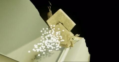 쿠푸왕의 묘실을 투과하는 뮤온의 상상도 ⓒ scanpyramids.org