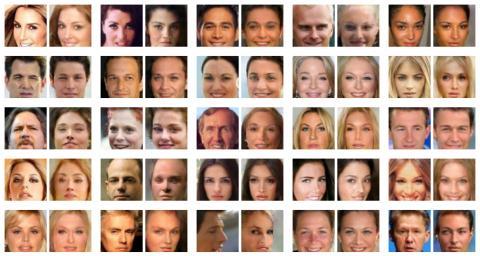 최근 NVIDIA에서 공개한 인물 복제 사진. 한쌍의 얼굴 사진 중 왼쪽이 진짜이고 오른쪽이 가짜이다. 구분이 불가능할 만큼 매우 닮았다.  ⓒdevblogs.nvidia.com